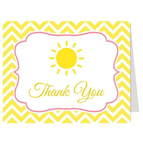 Baby Shower Thank You Cards, Yellow Chevron Stripes, Ray of Sunshine, Multiple Color Choices, Set of 50 Thank You Notes with Envelopes, ()