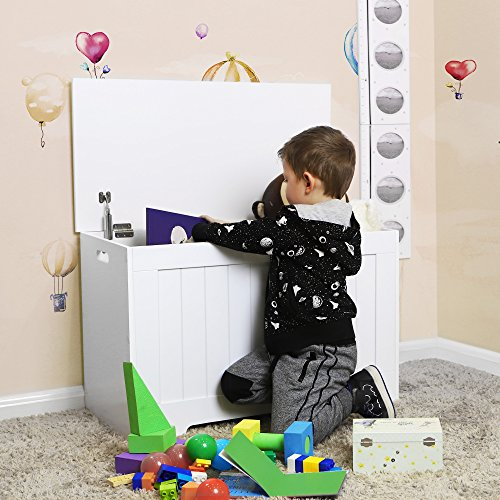 SONGMICS VASAGLE Lift Top Entryway Storage Chest/Bench with 2 Safety Hinge, Wooden Toy Box, White, ULHS11WT