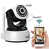 Yafeite IP Camera 720P HD WIFI Camera Used for baby/child/pet/nanny monitor Pan/Tilt Two-Way Audio and Night Vision 380° Black & White