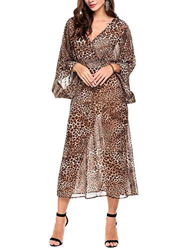 ANGVNS Womens Casual Leopard Sleeve