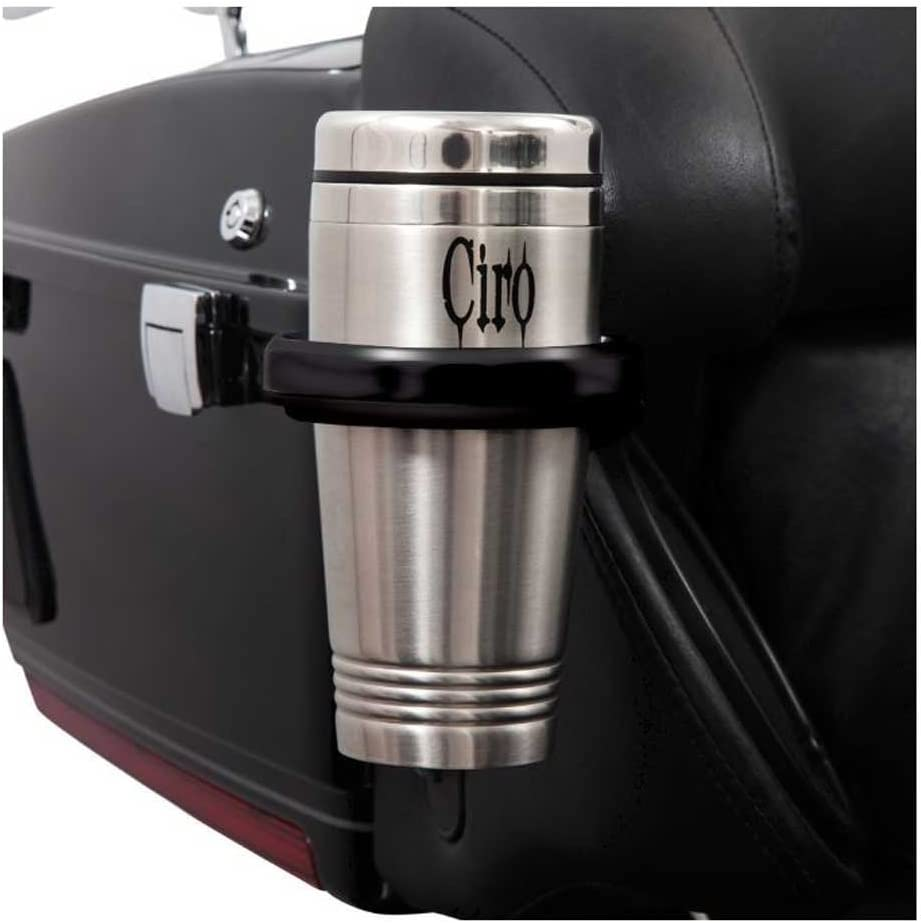 Ciro Passenger Drink Holder Compatible for Harley-Davidson Electra Glide Police 2018 Black