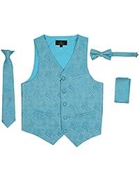 Boy's 4 Piece Formal Paisley Jacquard Satin Tuxedo Vest Set with Vest Tie Bowtie Handkerchief Set