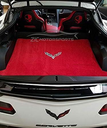 BLack front floor mats 2014-2019 CORVETTE Stingray C7 Logo With RED Binding NEW