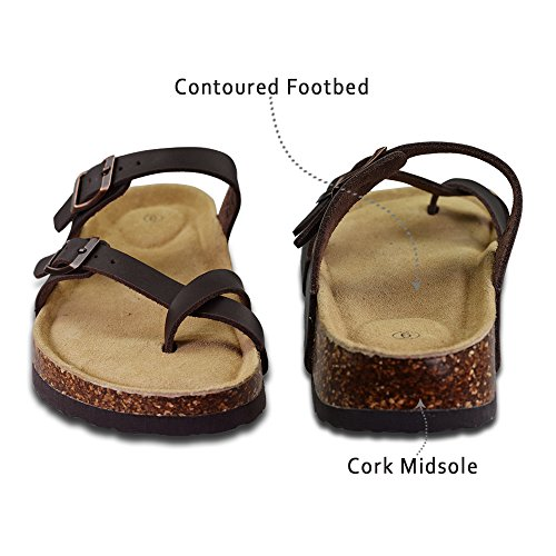 LA PLAGE Girl Women's Adjustable Toe Ring Flat Slide Cork Sandals for Summer 8 US Brown by LA PLAGE (Image #2)