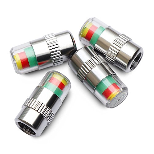 ANKIA Car Tire Pressure Monitor Valve Stem Caps Sensor Indicator 3 Color Eye Alert (4 Pcs)