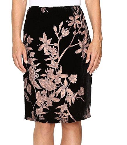 Floral Burnout Velvet Knee Length Skirt Black/Ballet Skirt (Rayon Velvet Skirt)
