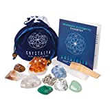 Genuine Crystals for Abundance and Prosperity / 11 pc Crystal Healing Set - Tumbled Stones + Citrine, Pyrite, Blue Calcite, Quartz + Spiritual Cleansing Tools + Informational Booklet/Gift Ready