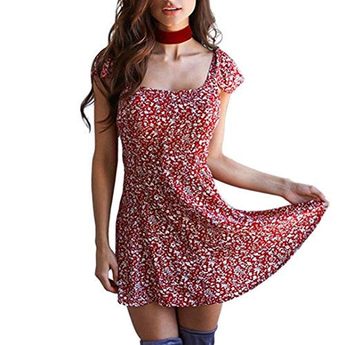 Clearance ! Women Dress, ღ Ninasill ღ Short Sleeve Square Collar Printed Beachwear Backless Mini Skirt Blouse Tops Tank (M, Red)