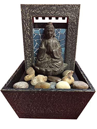 - Room101 Mosaic Buddha LED Tabletop Bubbling Water Fountain with Natural River Rocks - Battery Power Or Plug in
