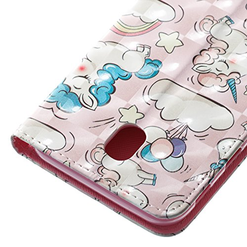 Lotuslnn Samsung J7 2017 for Europe caja del teléfono, caja de cuero de la PU cubierta de cierre magnético cubierta con Kickstand y ranuras para tarjetas de bolsillo en efectivo para Samsung J7 2017 f Horse pink