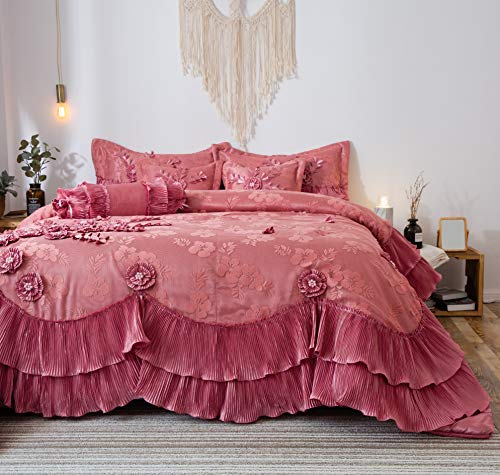 (Tache 6 Piece Elegant Faux Satin Ruffles Pink Royal Dreams Comforter Quilt Set, Queen)
