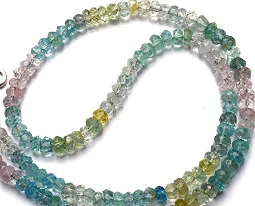 JP_Beads 1 Strand Natural Multicolor Aquamarine Facet Rondelle Beads 16