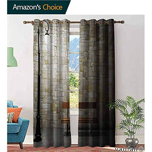 (Patio Curtain Panel,StreetModern Avenue at Dark Night with a Open Lamp and Bench and Stone Wall Behind Image,Set of 2 Pieces,Multicolor,W96 xL96)