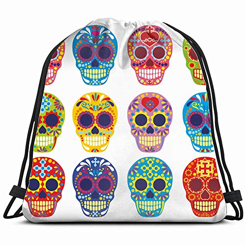 (Holy Death Day Dead Mexican Sugar Objects Signs Symbols Drawstring Backpack Bag For Kids Boys Girls Teens Birthday, Gift String Bag Gym Cinch Sack For School And)