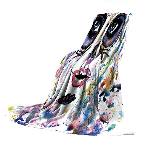 SCOCICI Super-Thick Flannel Warm Sofa or Bed Blanket,Sugar Skull Decor,Halloween Girl with Sugar Skull Makeup Watercolor Painting Style Creepy Decorative,Multicolor,39.37