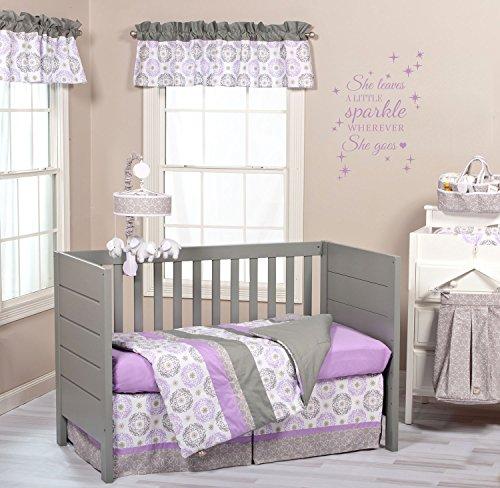 Amazon.com : Trend Lab Florence Gray U0026 Purple Nursery Crib Set U0026 Decor Room  Quote Bundle M : Baby
