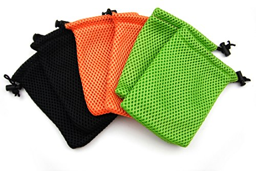 ALL in ONE 6pcs Nylon Mesh Drawstring Bag Pouches for Mini Stuff Cellphone Mp3 9x14cm (3.5x5.5 Inch) (Mixed Clor)
