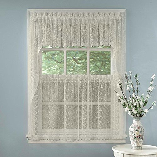 """Sweet Home Collection 5 Pc Kitchen Curtain Set - Valance Swag Choice of 24"""" or 36"""" Tier Pair, Priscilla Ivory"""