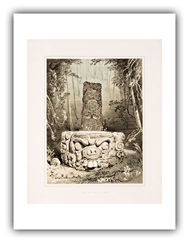 The Ibis Print Gallery - Frederick Catherwood : ''Idol and Altar at Copan (Plate 5)'' (Views of Ancient Monuments in Central America, Chiapas and Yucatan, 1844) - Giclee Fine Art Print