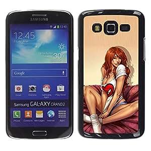 TopCaseStore / la caja del caucho duro de la cubierta de protección de la piel - Feet Redhead Bed Lingerie Honey - Samsung Galaxy Grand 2 SM-G7102 SM-G7105