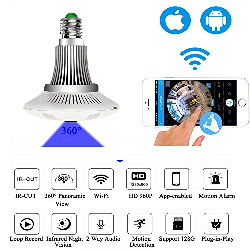 Jiusion 360° Wifi Camera Light Bulb, Fisheye Panoramic HD 1280x960P 1.3MP Cam 2.4G Wifi Home Door Office Security System Surveillance Dome Lamp Camera for iPhone IOS Android