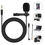 Lavalier Lapel Microphone - SOONHUA 3.5mm Omnidirectional Condenser Mini Clip-On Mic 1.8-meter Cord for GoPro Hero 3 3+ 4 Camera - iPhone and Samsung - PC - tablets - for Recording Video