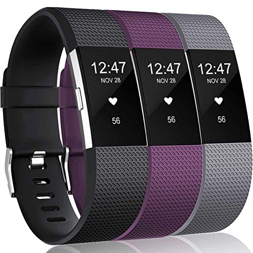 Wepro Bands Compatible with Fitbit Charge 2, 3-Pack, Large, Black, Plum, Gray