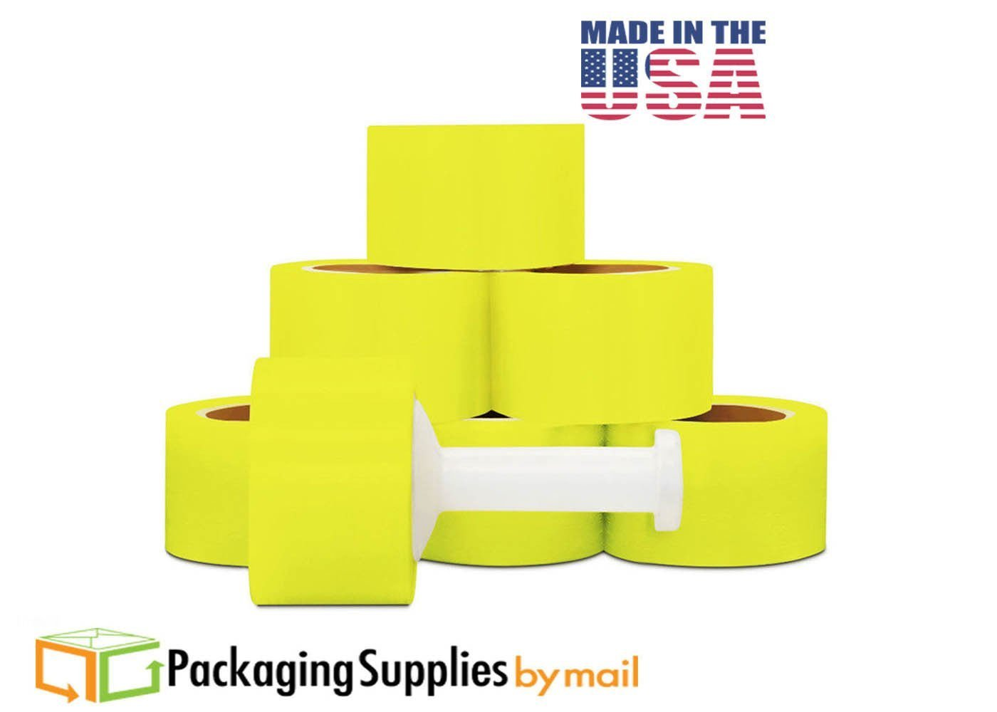 Narrow Banding Yellow Stretch Film Hand Wrap 3 Inch x 80 Gauge x 1000 Feet 162-Rolls + 1 Plastic Handle per Case