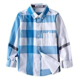 Kungfu ant Boys Casual Handsome Long Sleeve Plaid Cotton Button Down Pocket Shirt (Blue, 140(6-7 Years))