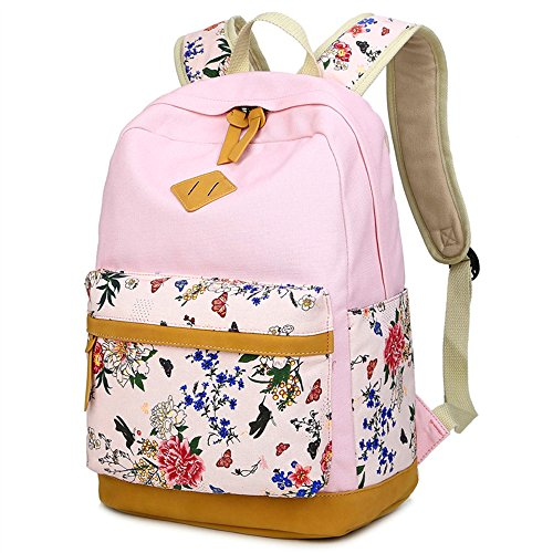 LuckyZ Women School Backpack Lightweight Canvas with Leather Daykpack Casual School Bag Cute Floral Printng Travel Laptop Bag Shoulder Bookbags Pink Flower