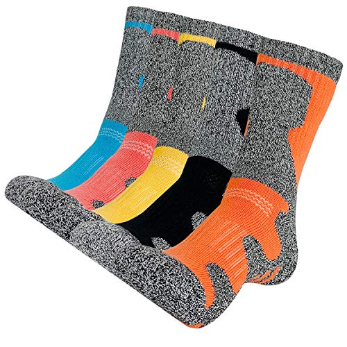 KONY Womens Hiking Trekking Socks, 5 Pack Cotton Full Cushioned Moisture Wicking Outdoor Crew Socks, Size 8.5-11(Mix-3, Large)