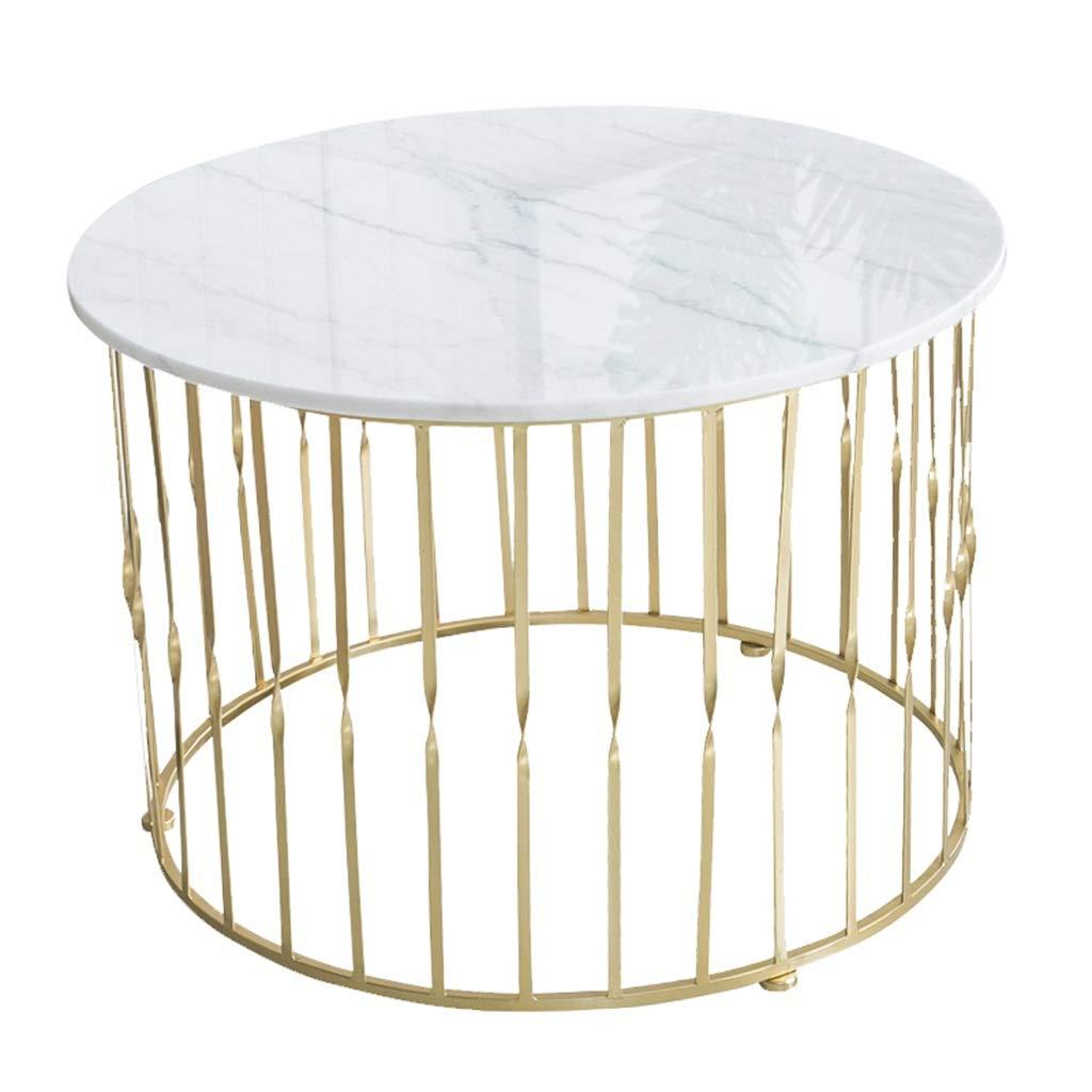 錬鉄製のコーヒーテーブル、大理石の卓上、ソリッドワイヤー直径フレーム、スタイリッシュなシンプルさ、ホームリビングルーム用、ラウンド、ホワイト B07NSTKLND