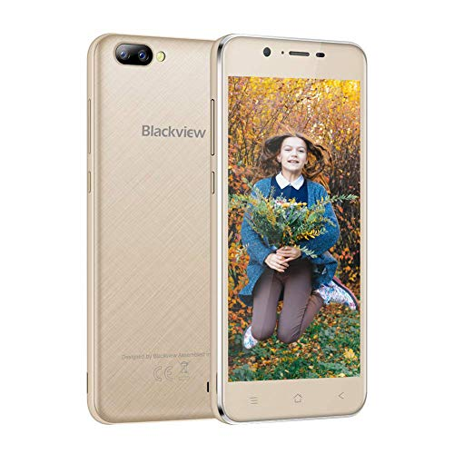 Cell Phone Unlocked, Blackview Mobile Phone A7 Dual Samsung Rear Cameras (5 MP + 0.3 MP), 3G Dual SIM 5.0 Inch HD Touch Display Smartphone Android 7.0 8GB ROM with 2800mAh Battery (AT&T/T-Mobile) Gold