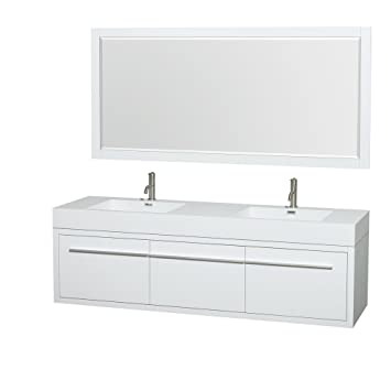 Wyndham Collection Axa 72 Inch Double Bathroom Vanity In Glossy