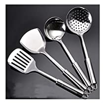 4PCS Stainless Steel turner soup ladle strainer spatula Kitchenware Cooking Utensil Cookware Kitchen Tool Set