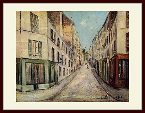 ユトリロ「パリの小路」 プリキャンバス複製画 額付き(デッサン額/大衣サイズ) B00PKKFICK
