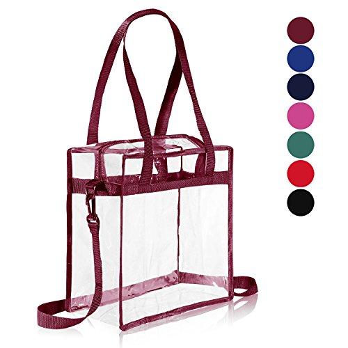 """senger Shoulder Zippered Bag w Adjustable Strap, NFL & PGA Stadium Security Approved Travel & Gym Clear Tote Bag-12"""" X 12"""" X 6"""" (Burgundy) ()"""