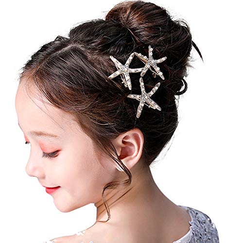 3 Pcs Starfish Hair Clip Bridal Flower Girl Accessories for Wedding -
