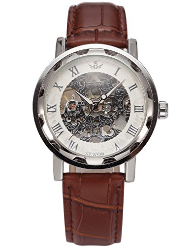 Brown Skeleton - AGENT X Men's Wrist Watch Mechanical Hand Winding Brown Leather Strap Silver Case Skeleton
