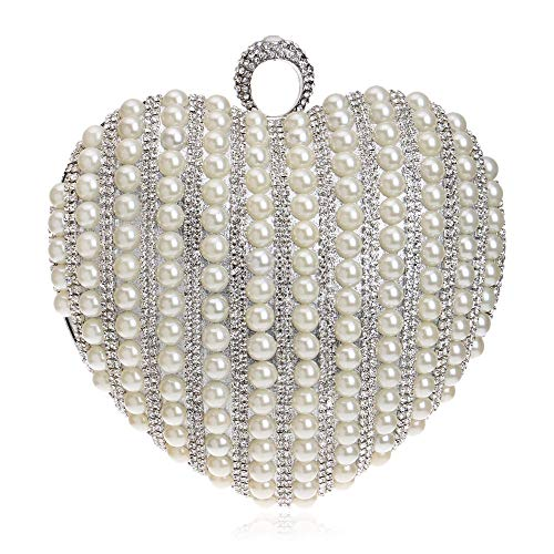 GROSSARTIG Clutch Exquisite Dress Messenger Pearl Shape Bag Bridal Heart Banquet Bag Silver Bag Dinner Fashion rPAnIWcr