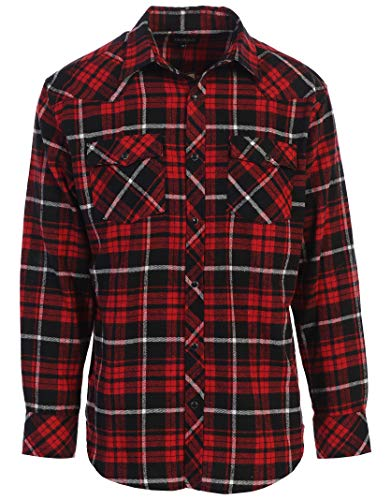 White Western Snap - Gioberti Men's Long Sleeve Western Flannel Shirt w/Snap Button, Red/Black / White Highlight, Large