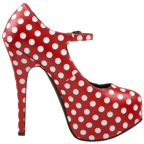 Womens 5 3/4 Inch Heel Polka Dot Mary Jane With Concealed Platform (Red/White;9) 72xf6w