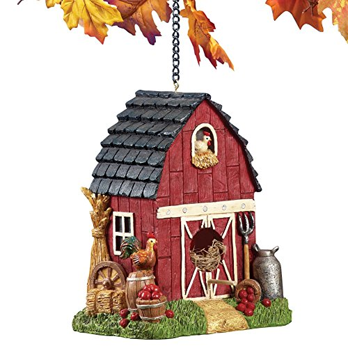 Hanging Country Red Barn Animal Birdhouse