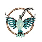 vintashion novelty design opal stone eagle women brooch green