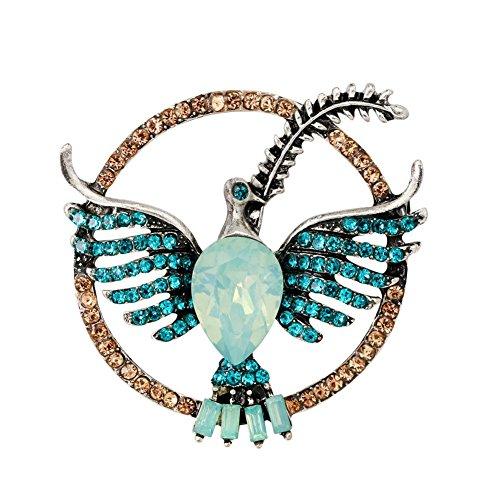 vintashion novelty design opal stone eagle women brooch green by vintashion