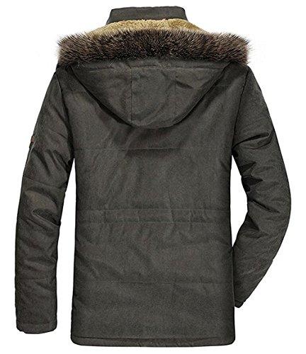 Cappotti Tomwell Cappuccio Nero Uomo Cerniera Caldo Parka Militare Inverno Della Con Lunga Peluche Moda Giacca Antivento F1T5JcluK3