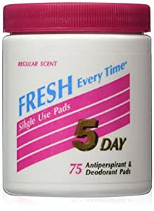 5 DAY Anti-Perspirant Deodorant Pads Regular Scent 75 Each