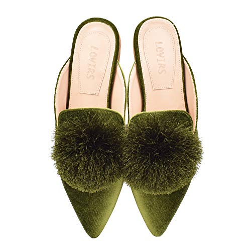 Lovirs Women's Green Velvet Backless Slip On Loafers Flats Embroidery Mule Slippers Shoes 11 M US