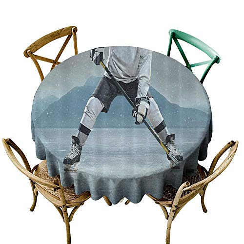 (Waterproof Table Cover Husband Gifts from Wife Ice Hockey Player on Ice Skating Athletic Activity Frozen Outdoors Equipment Snow Game Winter Sports Table Cover For Home Restaurant 47 INCH Gray Denim )
