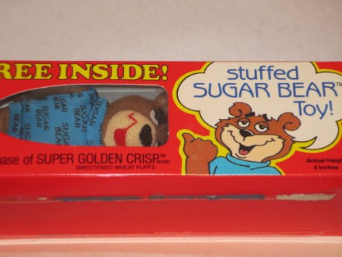 Stuffed Sugar Bear Toy ... Actual Height 4 Inches ... Super Golden Crisp Wheat Puffs ... New Old Stock
